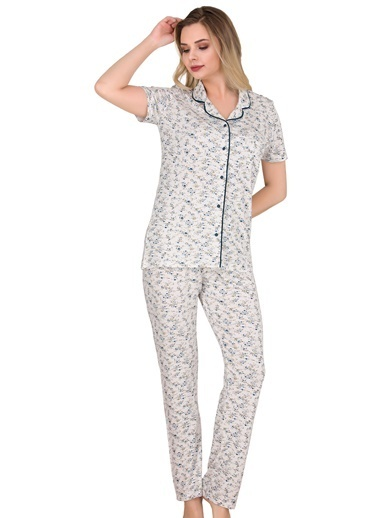 Sensu Kadın Pijama Takımı Kısa Kollu Düğmeli  Pj3005 Renkli